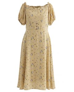 Sweetheart Neck Ditsy Floral Ruffle Midi Dress in Mustard