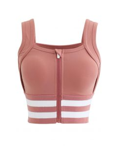 Ribbed Block Stripe Zip Front High-Impact Sports Bra in Orange