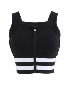 Ribbed Block Stripe Zip Front High-Impact Sports Bra in Black