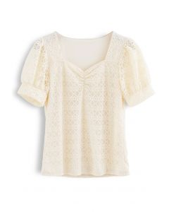 Ruched Front Sweetheart Neck Lace Top in Cream