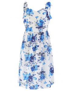 Floral Print Tie Shoulder Midi Dress