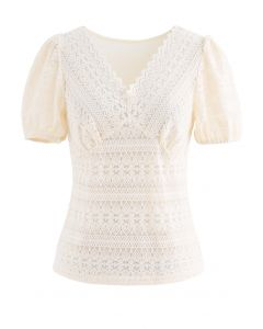 V-Neck Full Lace Neutral Cream Top