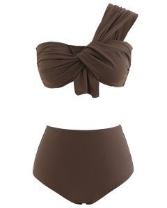 Sweet Knot One-Shoulder Bikini Set in Brown