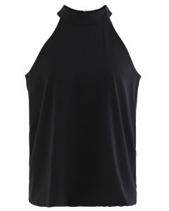 Sleek Loose Fit Halter Top in Black