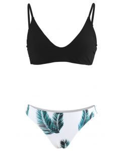 Adjustable Straps Leaf Print High-Cut Leg Bikini Set in Black