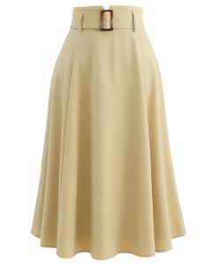 Belted Paper-Bag Waist A-Line Midi Skirt in Ginger
