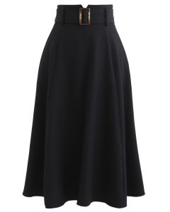 Belted Paper-Bag Waist A-Line Midi Skirt in Black