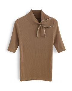 Pearl Trim Bowknot Short Sleeves Ribbed Knit Top in Tan