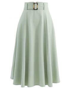 Belted Paper-Bag Waist A-Line Midi Skirt in Mint