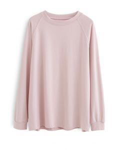 Long Sleeves Loose Pullover Sweatshirt in Pink