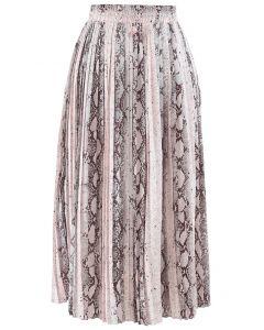 Snake Printed Pleated Midi Skirt