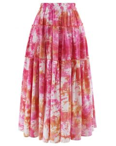Tie-Dye Pleated Frill Midi Skirt in Hot Pink