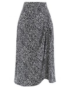 Animal Print Side Ruched Midi Skirt in Black