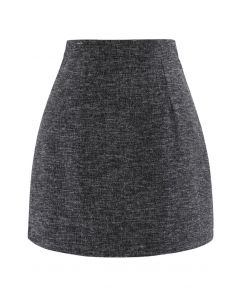 Wool-Blended Bud Mini Skirt in Smoke