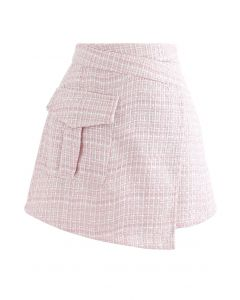 Tweed Asymmetric Mini Skirt in Pink