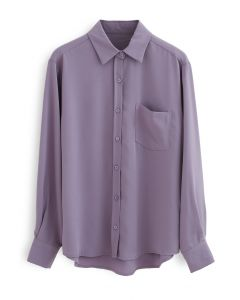Basic Softness Hi-Lo Shirt in Purple