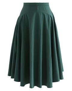 A-Line Asymmetric Flare Hem Midi Skirt in Dark Green