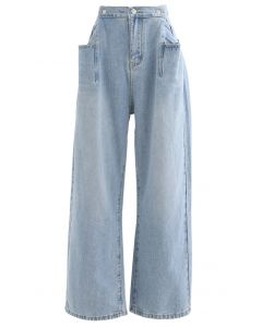 Patched Pockets High-Waisted Wide-Leg Jeans
