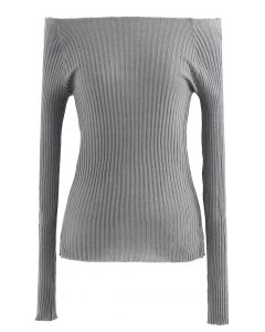 Fitted Off-Shoulder Ribbed Knit Top in Grey