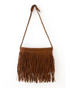 Camel Fringe Knit Strap Shoulder Bag