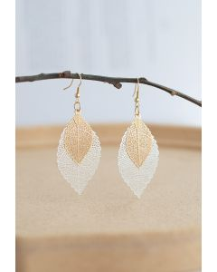 Boho Double Leaf Earrings in Silver