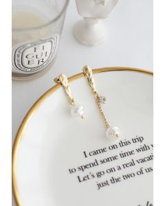 Asymmetric Chain Pearl Drop Earrings