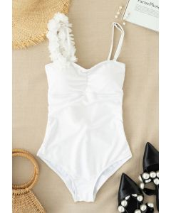 Open Back Mesh Flower Trim One-Piece Swimsuit