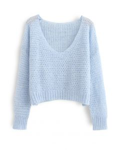 Fluffy Knit Hollow Out Crop Sweater in Blue