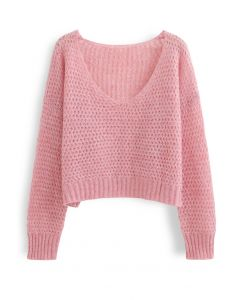 Fluffy Knit Hollow Out Crop Sweater in Pink