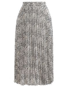 Animal Print Pleated Midi Skirt in Ivory
