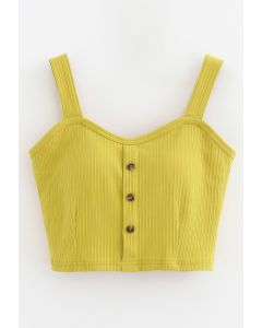 Buttoned Front Strappy Crop Tank Top in Lime