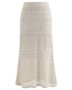 Versatile Hollow Out Knit Skirt in Sand