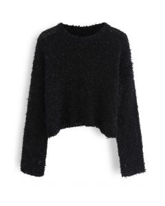 Cropped Fluffy Hollow Out Knit Sweater in Black