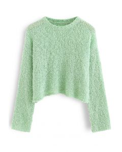 Cropped Fluffy Hollow Out Knit Sweater in Pea Green