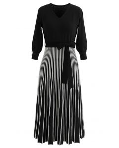 Radiant Lines V-Neck Bowknot Knit Dress in Black