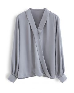 Satin Surplice Neck Sleeves Top in Grey