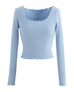 Lettuce-Hem Crop Knit Top in Blue