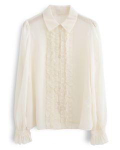 Button Down Ruffle Trim Semi-Sheer Shirt