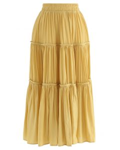 Swing Pleated Midi Skirt in Yellow