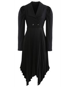 Asymmetric Pleated Buttoned Blazer Dress