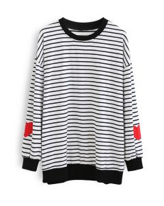 Black Stripes Heart Patchwork Sweatshirt