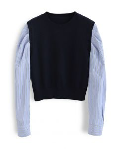Stripe Sleeves Panel Knit Sweater in Navy