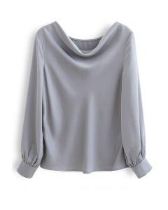 Satin Drape Neck Versatile Shirt in Dusty Blue