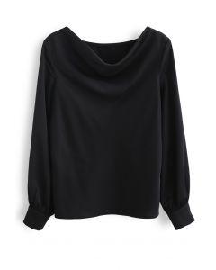 Satin Drape Neck Versatile Shirt in Black