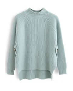 Button Side Hi-Lo Knit Sweater in Mint