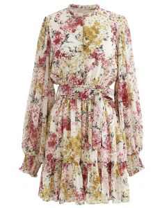 Flying Petals Print Puff Sleeves Ruffle Dress in Cream