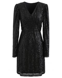 Shimmer Sequin Padded Shoulder Mesh Dress in Black