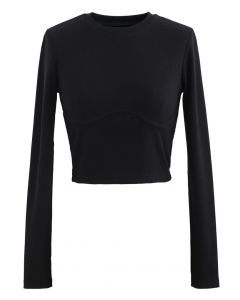 Cotton Long Sleeves Black Crop Top