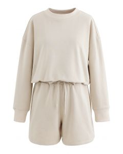 Round Neck Sweatshirt and Drawstring Shorts Set in Cream