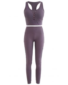 Mesh Panel Lace-Up Cropped Sports Bra and Leggings Set in Purple